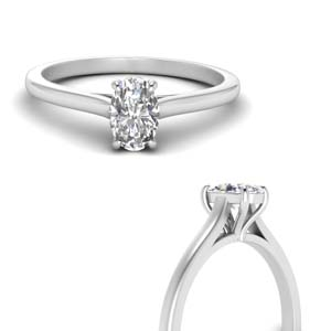 Oval Shaped Diamond Cathedral Ring