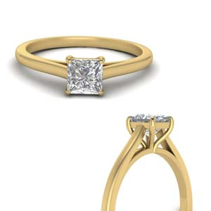 Princess Cut Single Diamond Ring