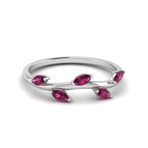 marquise leaf band pink sapphire in 14K white gold FD122971BGSADRPI NL WG