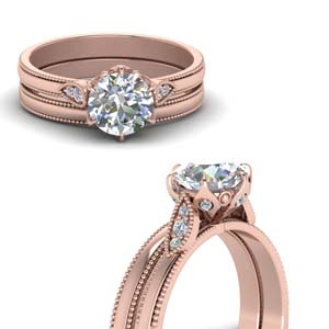 round cut milgrain simple diamond wedding set in FD122990ROANGLE3 NL RG.jpg