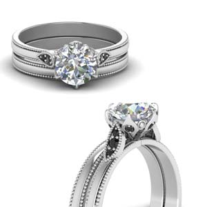 Round Cut Milgrain Simple Wedding Set With Black Diamond In 950 Platinum