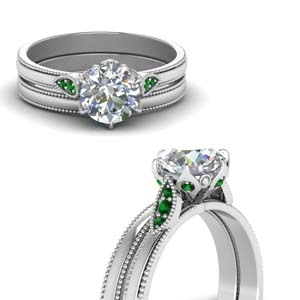 Milgrain Antique Pave Bridal Set
