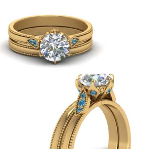 Round Cut Milgrain Simple Diamond Wedding Set With Ice Blue Topaz In 14K Yellow Gold