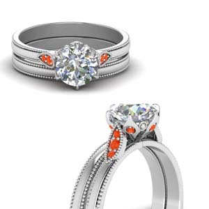 Round Cut Milgrain Simple Diamond Wedding Set With Poppy Topaz In 18K White Gold