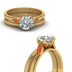 Orange Topaz Milgrain Bridal Set