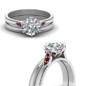 Round Cut Milgrain Simple Diamond Wedding Set With Ruby In 18K White Gold