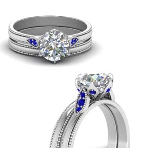 Round Cut Milgrain Simple Diamond Wedding Set With Blue Sapphire In 14K White Gold
