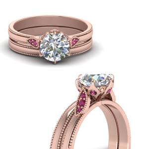 round cut milgrain simple diamond wedding set with pink sapphire in FD122990ROGSADRPIANGLE3 NL RG.jpg