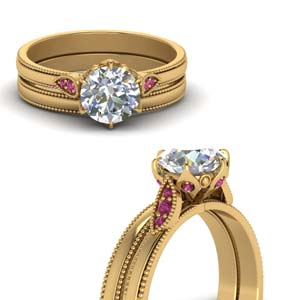 Round Cut Milgrain Simple Diamond Wedding Set With Pink Sapphire In 14K Yellow Gold