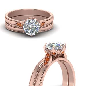 Round Cut Milgrain Simple Diamond Wedding Set With Orange Sapphire In 18K Rose Gold