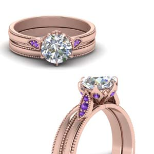 Round Cut Milgrain Simple Diamond Wedding Set With Violac Topaz In 18K Rose Gold