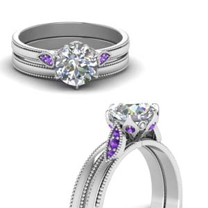 Nature Inspired Purple Topaz Ring Set
