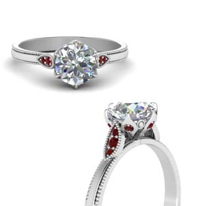 Round Cut Milgrain Simple Diamond Enaggement Ring With Ruby In 18K White Gold