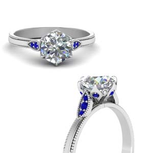 Round Cut Milgrain Simple Diamond Enaggement Ring With Sapphire In 14K White Gold