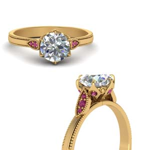 Round Cut Milgrain Simple Diamond Enaggement Ring With Pink Sapphire In 14K Yellow Gold