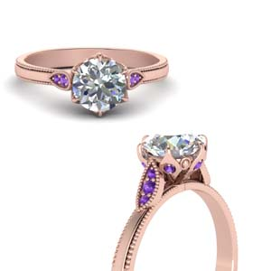 Round Cut Milgrain Simple Diamond Enaggement Ring With Violet Topaz In 18K Rose Gold