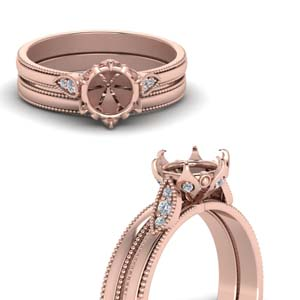 semi mount milgrain simple diamond wedding set in FD122990SMANGLE3 NL RG.jpg