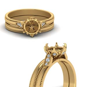 Semi Mount Cut Milgrain Simple Diamond Wedding Set In 18K Yellow Gold