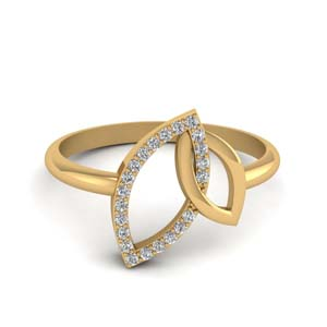 Leaf Diamond Interlocked Ring