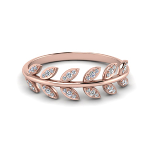 14K Rose Gold Leaf Band