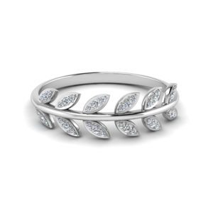 Leaf Diamond Wedding Band