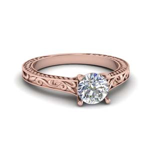Filigree Diamond Engraved Ring