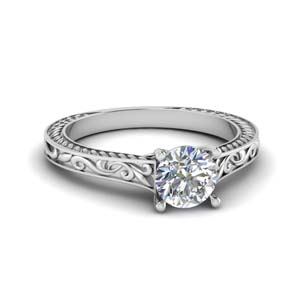 Filigree Engraved Solitaire Ring