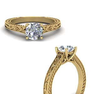 Filigree Moissanite Solitaire Ring