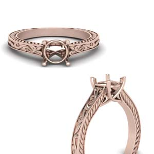 14K Rose Gold Ring Settings Only