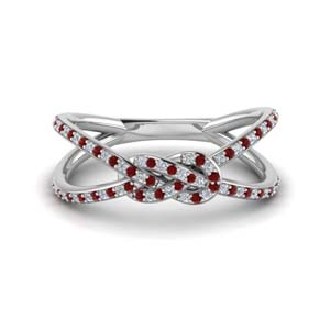 Platinum Split Band With Ruby