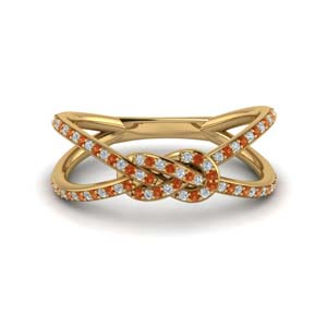 Gold Women Band With Orange Sapphire