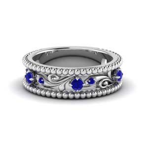 floral milgrain sapphire wedding band in 14K white gold FD123127BGSABL NL WG
