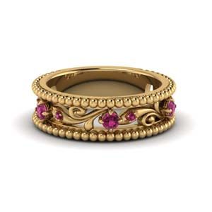 floral milgrain pink sapphire wedding band in 14K yellow gold FD123127BGSADRPI NL YG