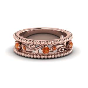 floral milgrain orange sapphire wedding band in 14K rose gold FD123127BGSAOR NL RG