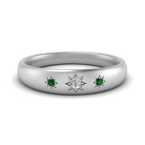 Emerald 3 Stone Band For Women