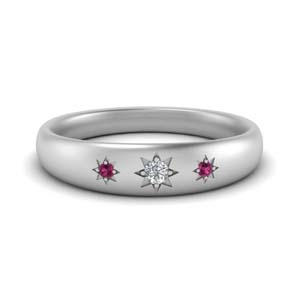 Unique Pink Sapphire Men Band