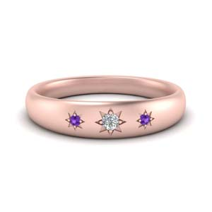 Purple Topaz Star Engraved Pattern Band