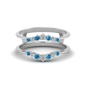 Platinum Blue Topaz Ring Guards