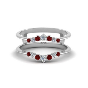 White Gold Ruby Graduated Ring Guards
