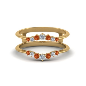 Orange Sapphire Diamond Ring Guards