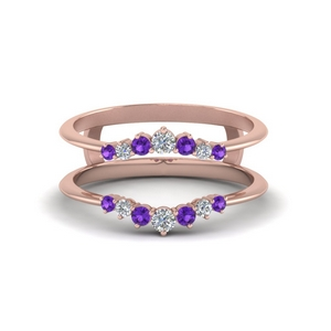 Rose Gold Purple Topaz Ring Guards
