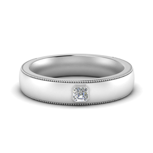 Mens Solitaire Milgrain Ring