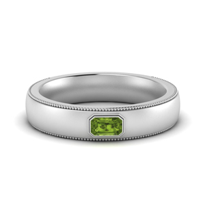 Comfort Fit Mens Peridot Band
