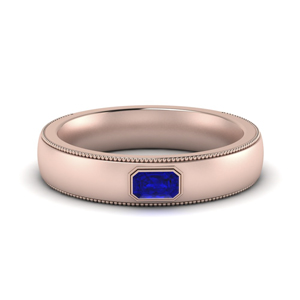Comfort Fit Mens Sapphire Band