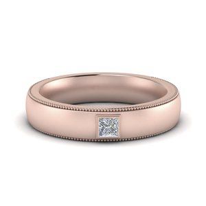 Princess Cut Solitaire Men Band