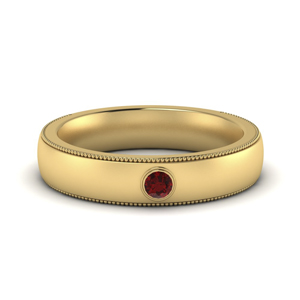 18K Yellow Gold Ruby Band For Him