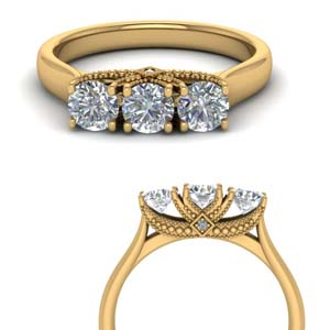 Cathedral 3 Stone Gold Trellis Ring