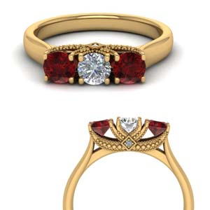 3 Stone Trellis Ring With Ruby