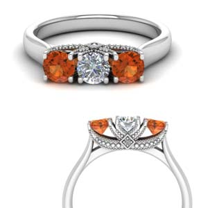 3 Stone Ring With Orange Sapphire