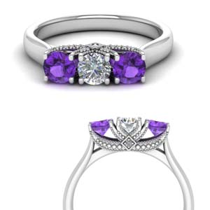 3 Stone Purple Topaz Band